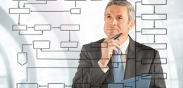 Businessman Studying Flowchart - data analysis and auditing